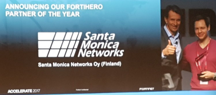 Santa Monica Networks wins 2016 Fortinet Partner of the Year Award.